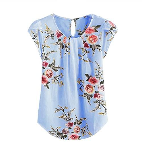 Camisa de Cuello Redondo Informal para Mujer de Primavera y Verano Camiseta de Manga Corta con Estampado de Flores Plisado Delgado Top