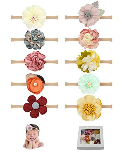 Baby Girls Tiny Daisy Flower Headbands Floral Hair Bands Soft Nylon Elastic 10PCS for Newborn Infants Toddlers by JIAHANG