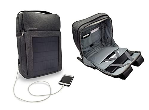Mochila Solar con Panel Solar Integrado De 8 Vatios a 6 Voltios | Puerto USB | Compartimentos para Portátiles De 17,5 y 12 Pulgadas | 30 litros | Resistente Al Agua