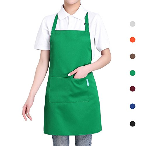 esonmus Adulti Poliestere Cucina Grembiule Ristorante Barbecue con Cintura Regolabile Collo 2 Tasche per Cucinare Cottura Giardinaggio per Uomo Donna - Verde