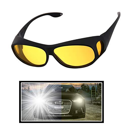 AKSDESY Night Driving Glasses, Anti Glare Night Vision Glasses HD Polarized Yellow Tint Fit Over Wrap Around Prescription Eyewear for Men Women