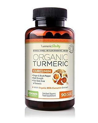 Organic Turmeric Curcumin Capsules Triple Strength with 95% Curcumin - Ginger & Black Pepper for Maximum Absorption – High Strength Supplement 2130mg Serving