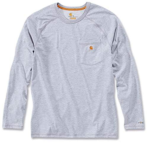 Carhartt Men's Force Cotton Delmont Long-Sleeve T-Shirt (Regular and Big & Tall Sizes), Heather Gray, 3X-Large