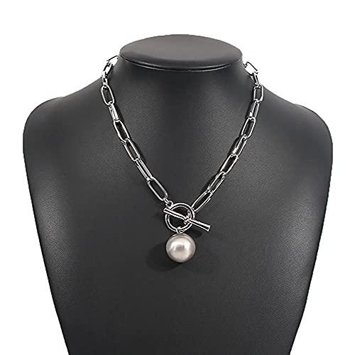 KUNHAN Juegos de Joyas Mujer Gargantilla de Cadena Grande Collares para Mujeres Hombres Vintage geométrica Collares de Oro Grueso Grueso joyería Femenina Regalo de Boda-Plata