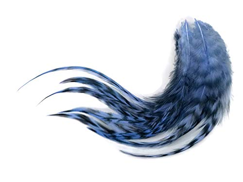1 Dozen - Medium Light Blue Grizzly Rooster Saddle Whiting Hair Extension Feathers Fly Tying Craft Supply | Moonlight Feather