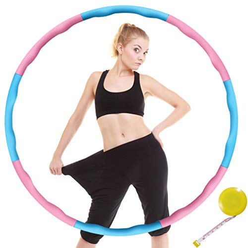 DUTISON Hula Hoop Fitness zur Gewichtsreduktion Weicher 8 Abschnitt Abnehmbares Design Eva-Schaum Gepolstert mit Mini Bandmaß (Blau & Rosa)
