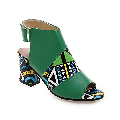 Damen Sandalen Mode Drucken Riemchensandale Römersandale Sandalette Slingback Fischmaul Peeptoe Pumps High Heels Sommer Sandals Freizeitschuhe(1-Grün/Green,36) 1112