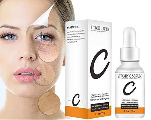 Beileer Suero Facial Orgánico Vitamina C y Ácido Hialurónico Puro – Remueve Cicatrices de Acné, Manchas de Piel - Efecto Anti Edad