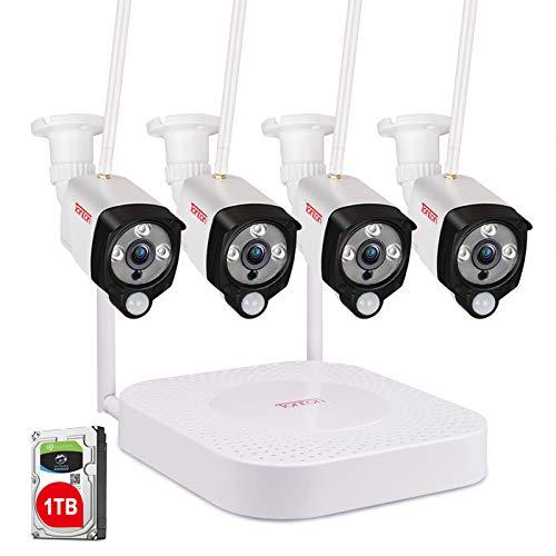 Sistema de cámara de Seguridad inalámbrica 1080P, Tonton 4CH Full HD 1080P Red WiFi NVR con Disco Duro de 1TB y 4PCS 2.0MP 1080P