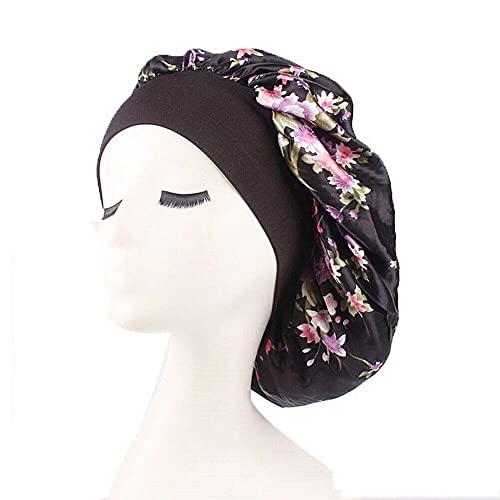 2 gorros de dormir de saten suaves para proteger tu cabello con cómoda banda ancha elastica y elegante patrón de flores + 1 gorro de ducha impermeable y reutilizable regalado . (BLACK#)
