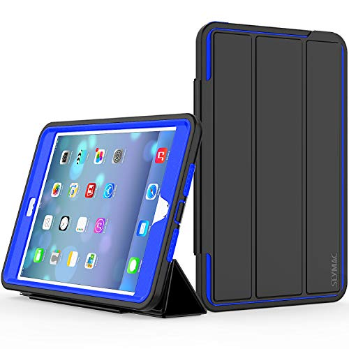 iPad Mini 4th/5th Generation Case, SEYMAC 3-Layer Heavy Duty Rugged Shock/Drop Protection Kids Case with Trifold Stand Auto Wake/Sleep Smart Cover for 7.9 inch iPad Mini 4/5 2015/2019(Black/Blue)