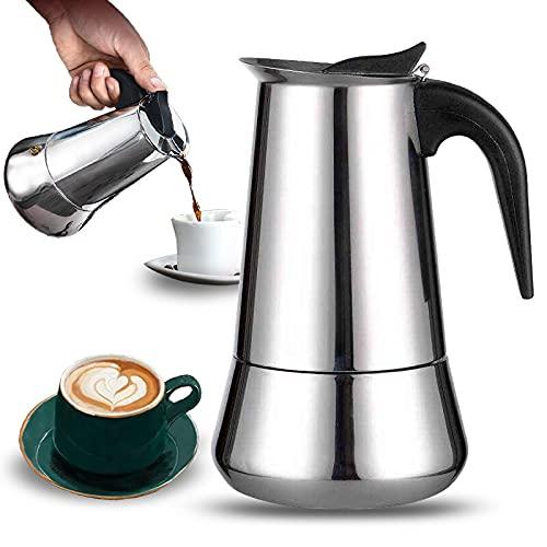 Cafetera Italiana 9 Tazas inducción. Cafetera para vitro en acero inoxidable. Compatible con todo tipo de cocinas. (9 Tazas)