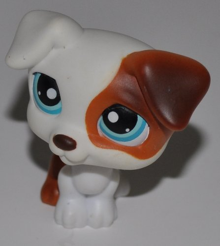 Jack Russell #151 (White, Brown Accents) - Littlest Pet Shop (Retired) Collector Toy - LPS Collectible Replacement Figure - Loose (OOP Out of Package & Print)