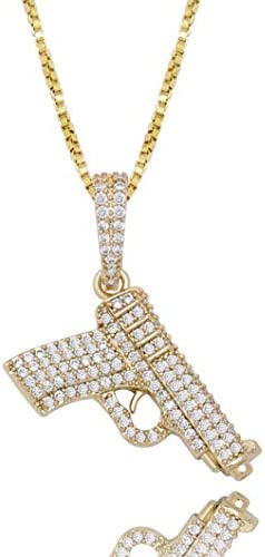 JINAO 925 Sterling Silver Dainty Hand Gun Pendant 14K Gold Plated Fully Iced Out Cubic Zirconia product image
