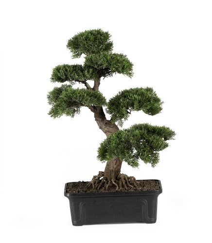 Nearly Natural 4103 24in. Cedar Bonsai Silk Plant,Green