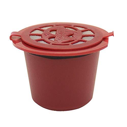 Foru-1 Wiederverwendbare Nachfüll-Kaffeekapsel-Filterschale für Nespresso-Kaffeemaschinen, rot