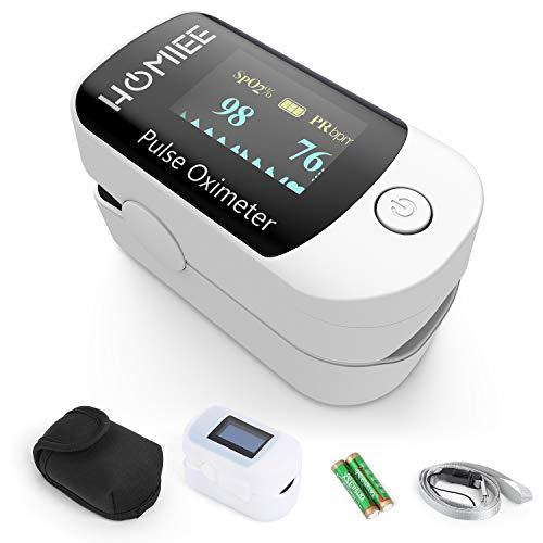 HOMIEE Finger Pulsoximeter, Oximeter für Sauerstoffgehalt im Blut SpO2 und Herzfrequenz Pulsfrequenz Messen mit HD OLED Bildschirm, Finger Pulsmesser, Herzfrequenz Monitor und Sauerstoffsättigung