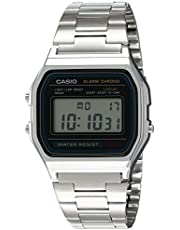 Casio Men's Grey Dial Stainless Steel Band Watch - A158WA-1DF