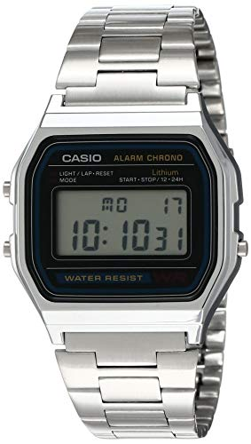 Reloj Casio Digital Retro Unisex 33mm, pulsera de Acero Inoxidable