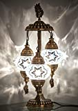 DEMMEX 2020 Stunning 3 Globe Turkish Moroccan Bohemian Table Desk Bedside Night Lamp Light Lampshade with North American Plug & Socket, 21 Inches (White Mix)