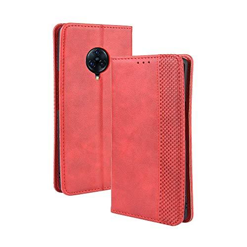 LAGUI Kompatible für VIVO NEX 3 / NEX 3 5G Hülle, Leder Flip Hülle Schutzhülle für Handy mit Kartenfach Stand & Magnet Funktion als Brieftasche, rot