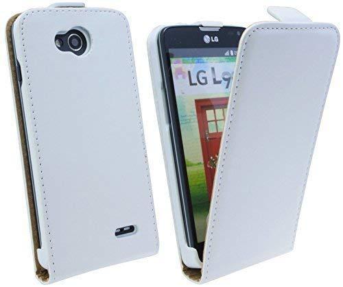 ENERGMiX Handytasche Flip Style kompatibel mit LG L90 (D405) in Weiß Klapptasche Hülle