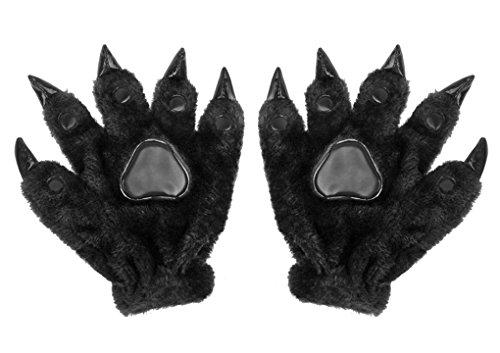 Adult Teens Halloween Cosplay Gloves Winter Warm Plush Animal Costume Dinasour Bear Panda Cat Paw Claw Hand Gloves Fancy Party Props Gift (Black)