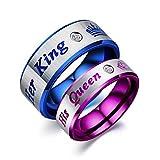 Splendido anello di fidanzamento con corona da re e regina per lui o per lei e Acciaio inossidabile, 50 (15.9), colore: Purple, cod. 2019bw19145RBSN0682R