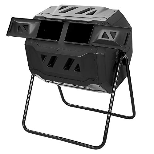 F2C 43 Gallon Large Tumbling Composter Dual Chamber Compost Bin w/ Sliding Doors & Solid Steel Frame,360° Rotating for Outdoor Garden Yard Black