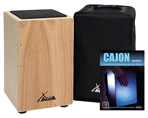 XDrum Cajon Primero Natur - Kistentrommel inkl. Rucksacktasche und Schule - Trommelkiste mit Snare Sound - Holz Drum Kiste mit Gigbag, 00030505