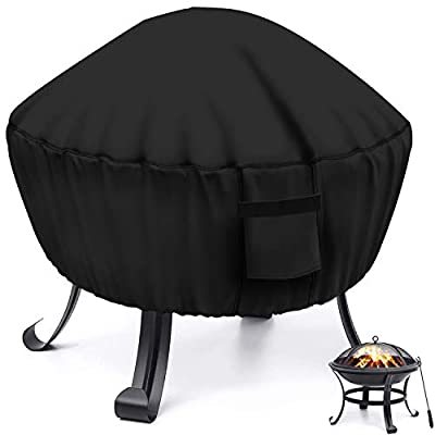 MENSBY Fire Pit Cover Round 22 inch Fire Pit Table Protective Cover for Outdoor Patio Garden Waterproof and Anti-Fade