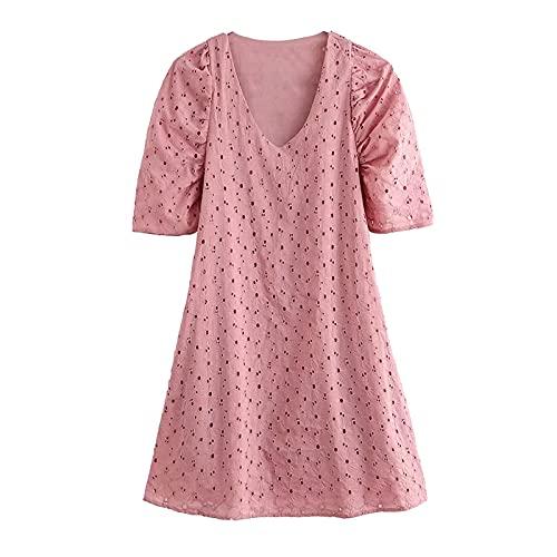 DRESSES Elegante Color Rosa Bordado Mini Vestido Verano V Cuello Puff Manga Corta Casual Señora Hueco Retro Vestido