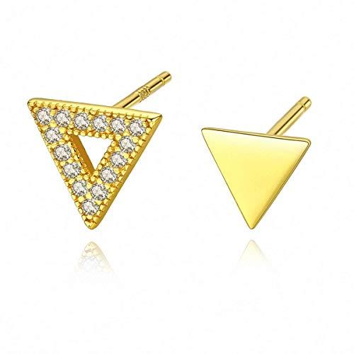 QYRKYP Pendientes S925 Pendientes Esterlinas Simple Y Creativo Triángulo Geométrico Asimétrico Pendientes Joyas de Temperamento para Mujeres Dos Pendientes Diferentes en Estilo,Oro