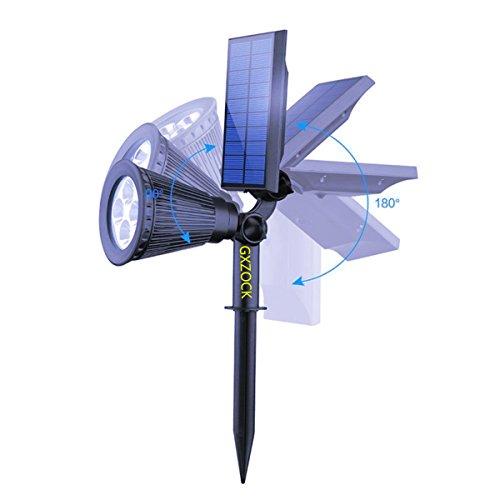 Gxzock ad energia solare a LED da giardino, faretti Progreen 2-in-1impermeabile 4LED solare faretto regolabile paesaggio illuminazione solare luce da parete per esterni giardino decorazioni (2pezzi, 3000K bianco caldo)