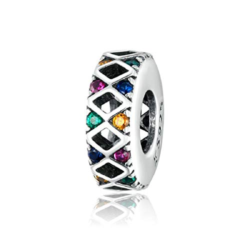 FeatherWish Rainbow Coloured Spacer Charm 925 Sterling Silver With Coloured Cubic Zirconia Compatible With Pandora Bracelet European 3mm Bracelets and Necklaces.