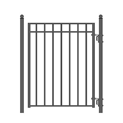 ALEKO PGMAD Madrid Style Ornamental Galvanized Steel Pedestrian Security Gate 5 x 4 Feet Black