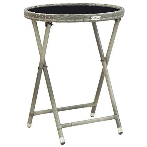 vidaXL Table à Thé Table Basse Table d'Appoint Jardin Table de Patio Table de Terrasse Extérieur Gris 60 cm Résine Tressée et Verre Trempé