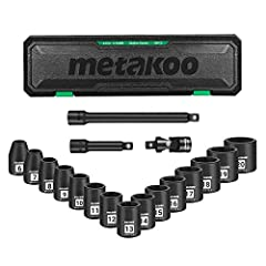 ▲【Extra Accessories】 Besides getting 15 pieces shallow impact sockets, with two extension bars and a universal joint, you can do the work with more flexibility and ease ▲【Premium Quality】METAKOO Socket Set are made of heat treated chrome vanadium ste...