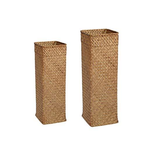 Cobeky Cesta de mimbre hecha a mano con diseño de paja natural vintage para el hogar, contenedor de almacenamiento de escritorio, 2 unidades