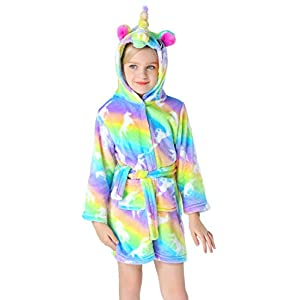 Slenily Girls Soft Unicorn Hooded Bathrobe Sleepwear Baby Kids Unicorn Gifts