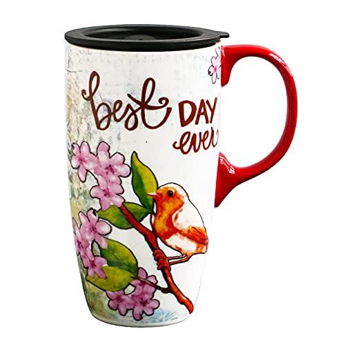 Xiaobing Taza de Gran Capacidad Taza de Desayuno de café de cerámica con Tapa Taza de Agua para el hogar Pareja -D265-Talla única