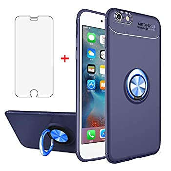 Phone Case for iPhone 6/6s Plus with Tempered Glass Screen Protector Cover Magnetic Ring Holder Accessories Silicone iPhone6 6+ i 6a 6X 6plus 6s+ Six iPhone6+ 6splus iPhone6splus Cases Women Men