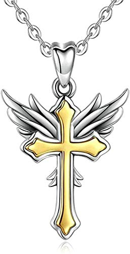 Necklace for Women Necklace for Men Pendant Necklace 925 Silver Golden Angel Wings & Cross Pendant Necklace Silver Link Chain Fashion Women Fine Amulet Jewelry Pendant Necklace Gift for Girls Boys