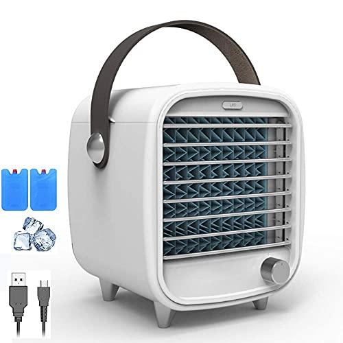 WLGQ Ventilador de Aire Acondicionado portátil, Mini Enfriador de Aire Personal evaporativo con lámpara de atmósfera Azul, regulación de Velocidad Continua, súper silencioso - Bandeja de Hielo