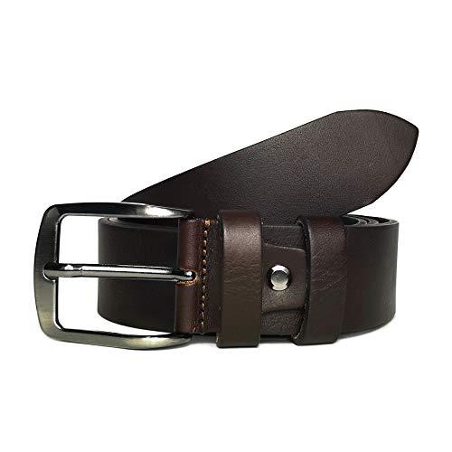 MYB Cintura per uomo 100% in vera pelle - Made In Italy - senza cuciture - diversi colori e misure (105-120 cm, Marrone)