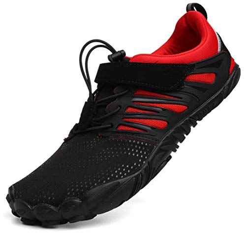 WHITIN Women's Minimalist Barefoot Shoes Low Zero Drop Trail Running 5 Five Fingers Wide Toe Box for Female Lady Width Gym Cross Trainning Trainer red Size 7