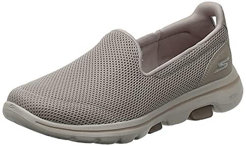 Skechers Performance Go Walk 5, Zapatillas Mujer, Taupe (TPE Black Textile/Trim), 38.5 EU