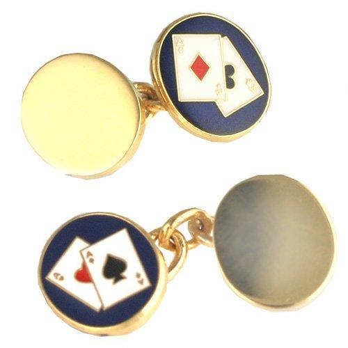 British Jewellery Workshops Boutons de Manchette Poker en plaqué Or avec chaîne