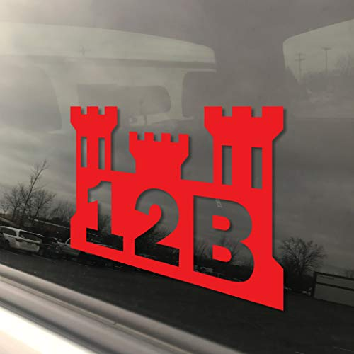 Army MOS 12B Combat Engineer Castle Window Decal. Free Lifetime Replacement. 3' x 5' Heavy Duty Die Cut Vinyl Veteran Bumper Sticker. Rain, Fade and Scratch Resistant. (Red)