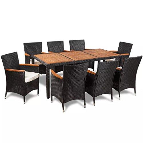 FZYHFA 17 pièces Set Meubles d'extérieur polyrotin Plan Table en Acacia Design Simple et Pratique, Durable et Stable Set de Table extérieur Table et chaises de Jardin